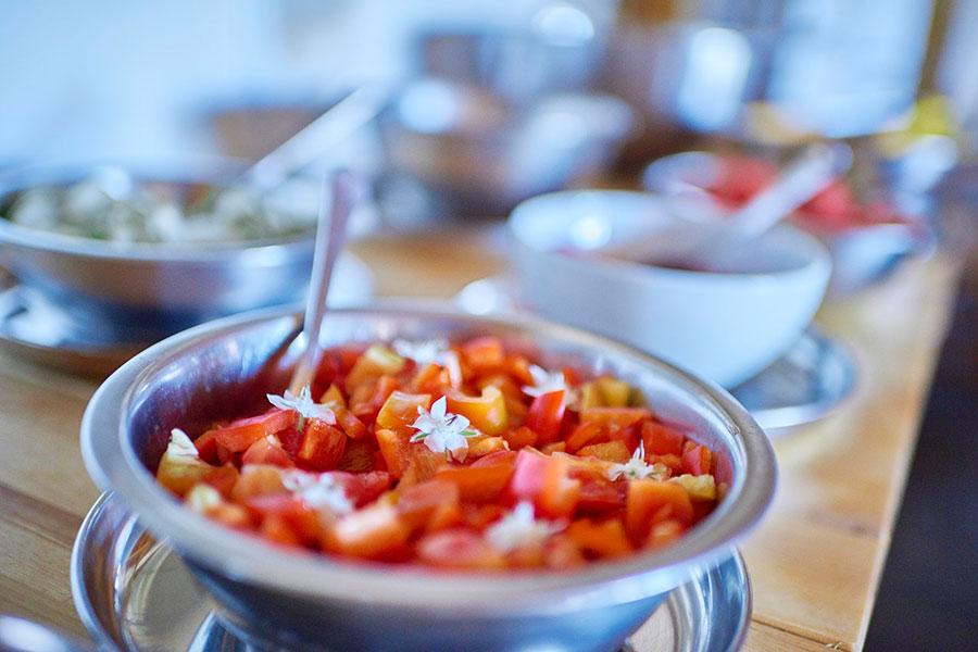 Comida vegetariana en Casa Cuadrau