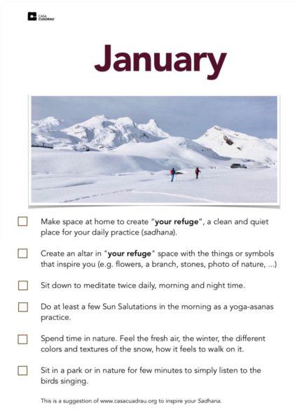 January monthly inspiration by Casa Cuadrau Yoga Retreats