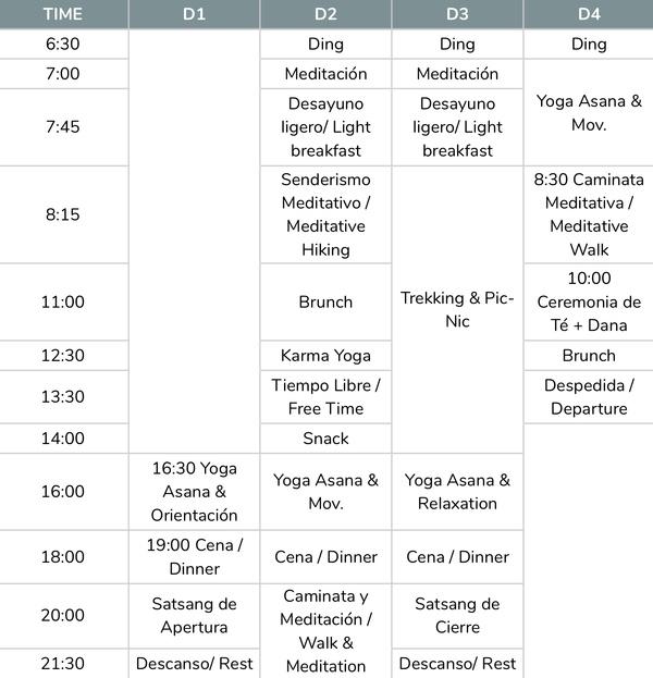 Horario retiro Puente del Pilar Yoga Meditación y Senderismo