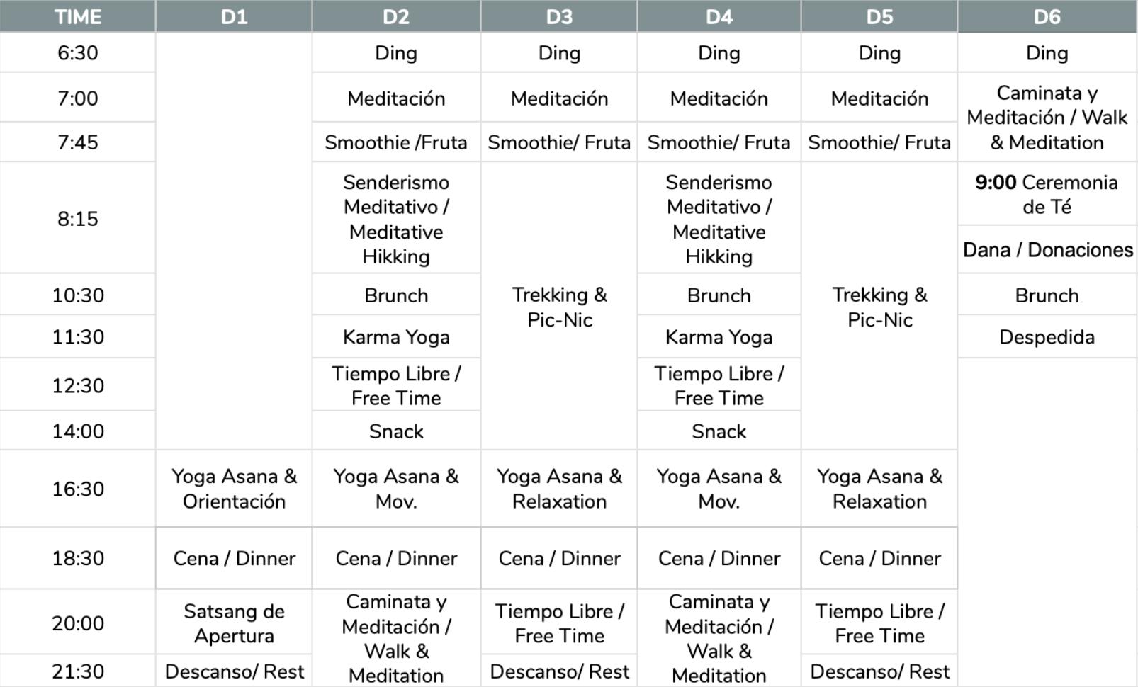 Horario Casa Cuadrau Retiros Yoga y Senderismo 2020 6D